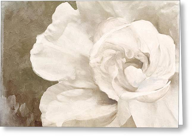 White Paintings Greeting Cards - Petals Impasto II Greeting Card by Mindy Sommers