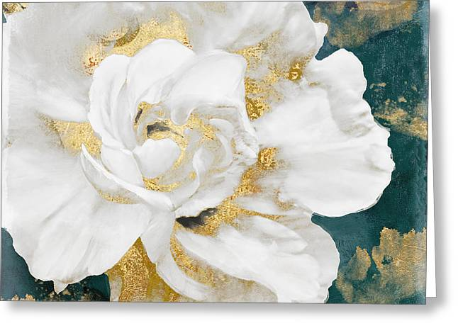 Petals Impasto White And Gold Greeting Card by Mindy Sommers