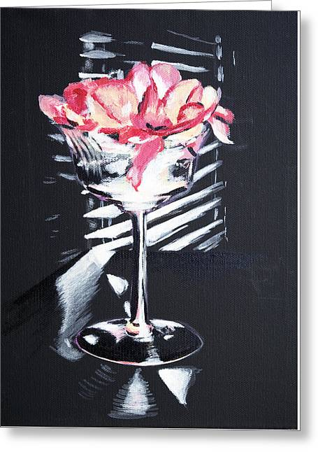 Champagne Glasses Greeting Cards - Petals in a tall glass Greeting Card by Laurie Liebl