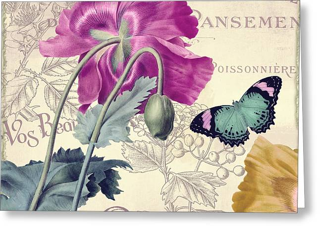 Pink Poppies Greeting Cards - Petals of Paris III Greeting Card by Mindy Sommers