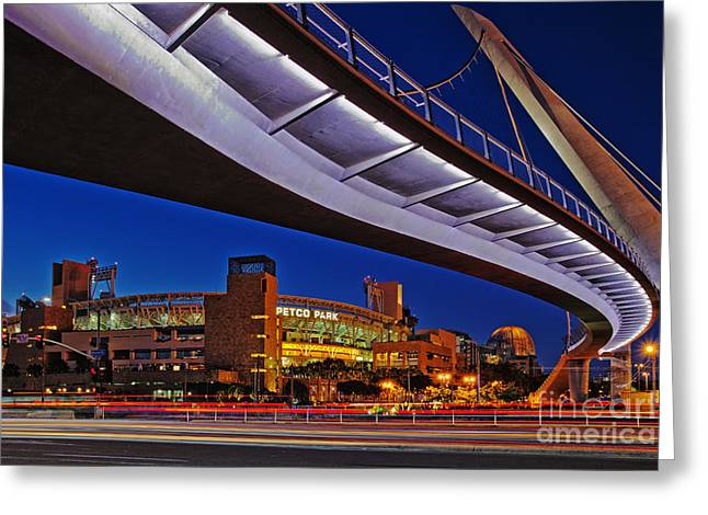 Petco Park And The Harbor Drive Pedestrian Bridge In Downtown San Diego  Greeting Card by Sam Antonio Photography