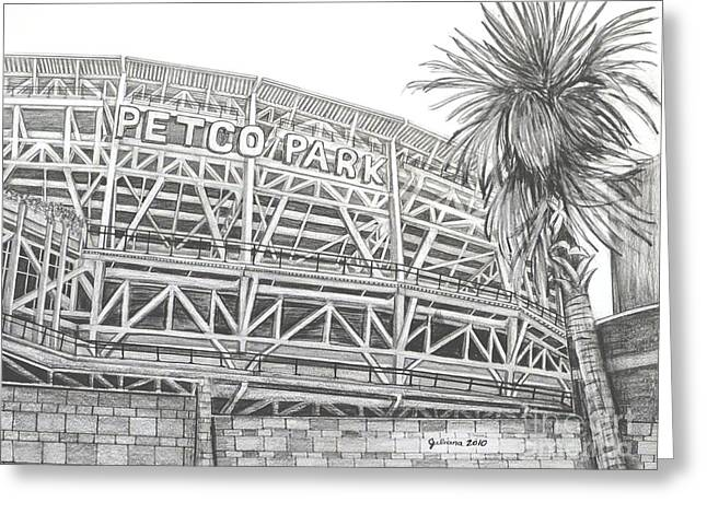 San Diego California Baseball Stadiums Drawings Greeting Cards - Petco Park Greeting Card by Juliana Dube