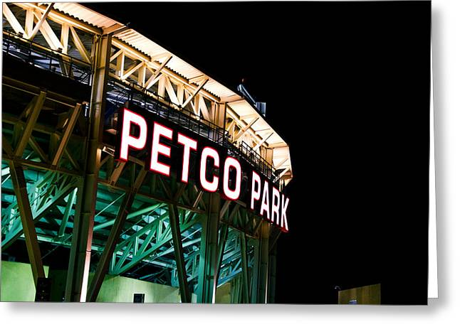 Petco Park Photographs Greeting Cards - Petco Park Sign at Night Greeting Card by Irv Lefberg
