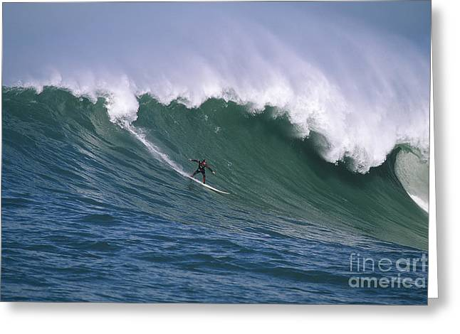 Pete On A Perfect Day At Mavericks Greeting Card by Stan and Anne Foster