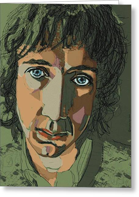 Singer Songwriter Drawings Greeting Cards - Pete Townshend - Behind Blue Eyes  Greeting Card by Suzanne Gee