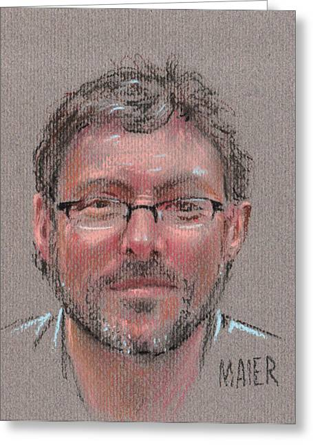 Pastel Portrait Greeting Cards - Peter Greeting Card by Donald Maier