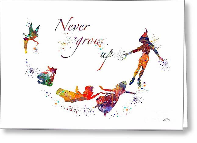 Peter Pan Quote  Greeting Card by Svetla Tancheva