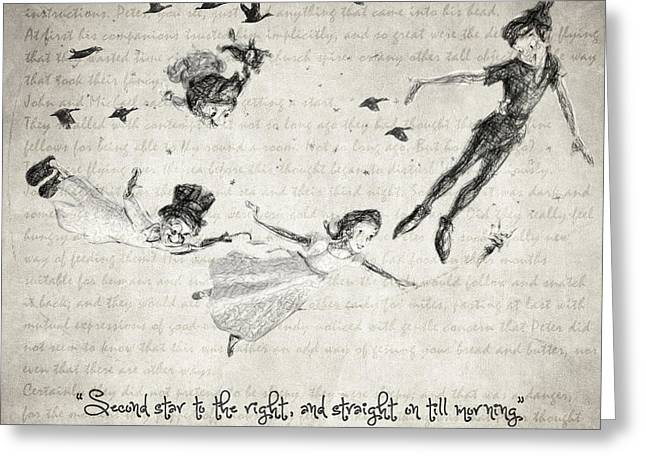 Kids Books Drawings Greeting Cards - Peter Pan Quote Greeting Card by Taylan Soyturk