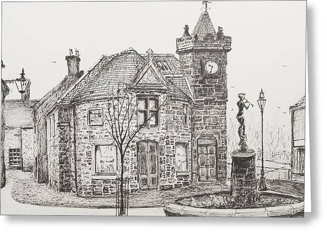 Pen And Ink Drawings Greeting Cards - Peter Pan Statue Kirriemuir Scotland Greeting Card by Vincent Alexander Booth