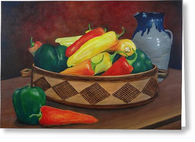 Pottery Pitcher Greeting Cards - Peter Pipers Peppers Greeting Card by Leda Rabenold