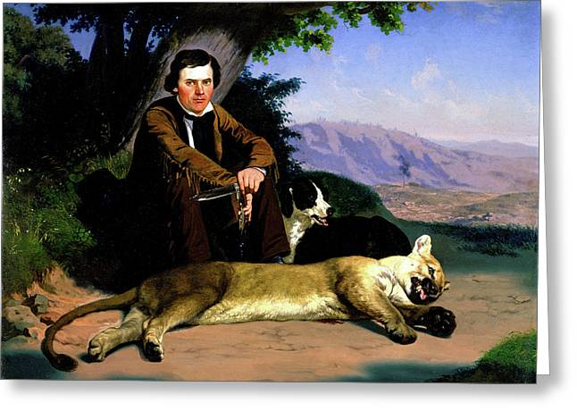 Peter Quivey And The Mountain Lion Greeting Card by Charles Christian Nahl