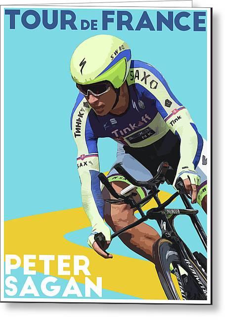 Peter Sagan Greeting Card by Semih Yurdabak