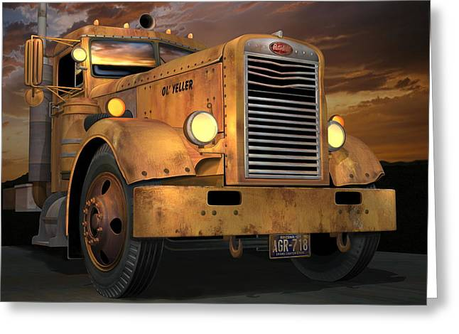 Peterbilt Ol Yeller Greeting Card by Stuart Swartz