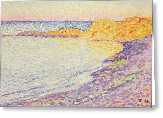 Petit Plage, Saint Tropez Greeting Card by Theo van Rysselberghe