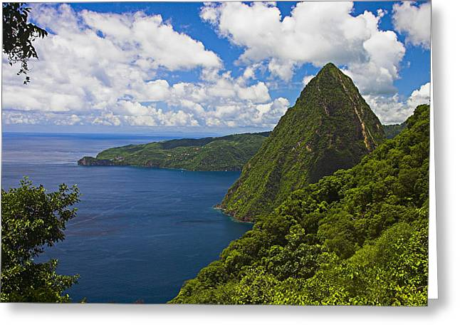 St Lucia Greeting Cards - Petite Piton from Gros Piton-St Lucia Greeting Card by Chester Williams