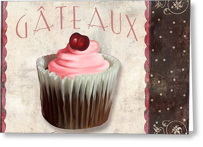 Cake Paintings Greeting Cards - Petits Gateaux Chocolat Patisserie Greeting Card by Mindy Sommers