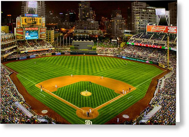 Petco Park Photographs Greeting Cards - Peto Park in San Diego at Night Greeting Card by Irv Lefberg