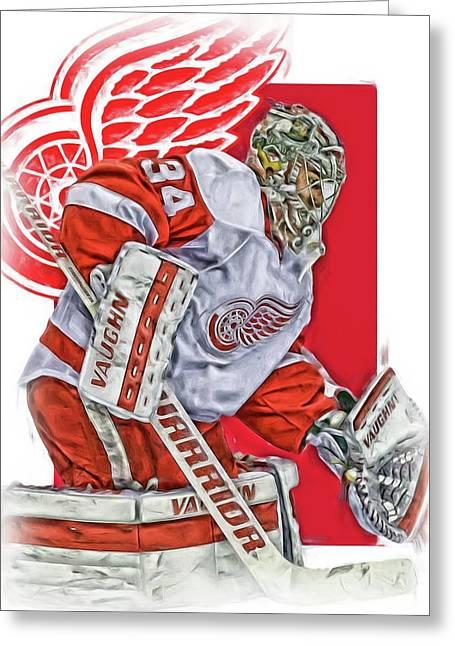Petr Mrazek Detroit Red Wings Oil Art Greeting Card by Joe Hamilton