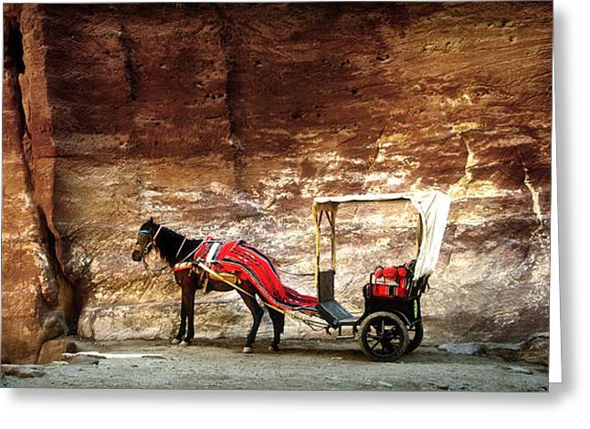 Petra Greeting Cards - Petra Horse wagon Greeting Card by Arim Almuelle