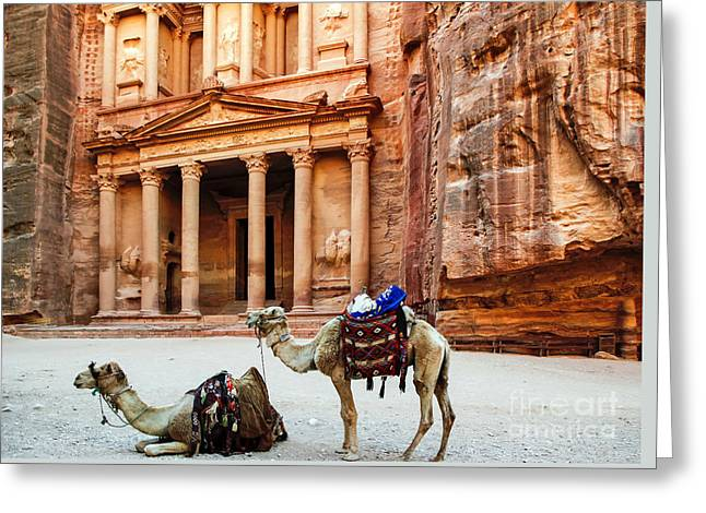 Petra Jordan Camels At The Treasury Greeting Card by Kenneth Lempert