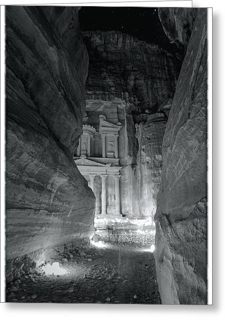 Caves Greeting Cards - Petra Siq Night Greeting Card by Stephen Stookey
