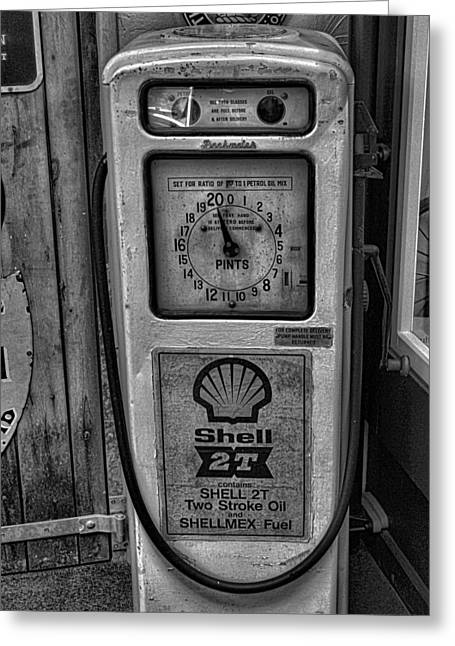 Shack Greeting Cards - Petrol Pump Greeting Card by Martin Newman