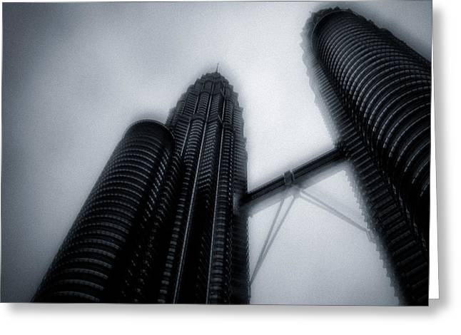 Twin Towers Greeting Cards - Petronas Towers Greeting Card by Dave Bowman
