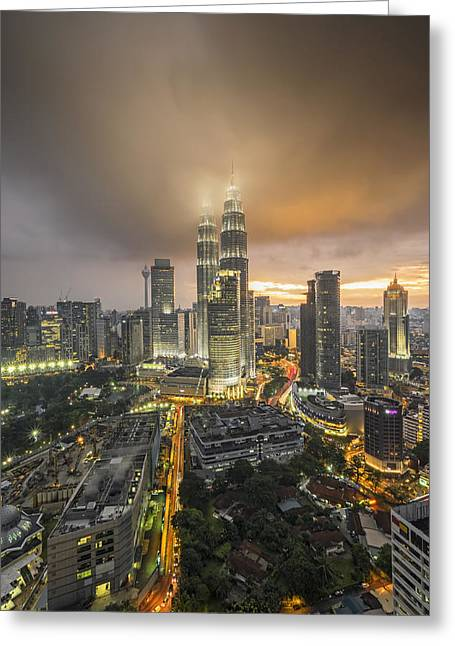 Twin Towers Greeting Cards - Petronas Twin Towers Greeting Card by Mohd Rizal Omar Baki