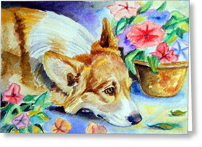 Puppies Greeting Cards - Petunias - Pembroke Welsh Corgi Greeting Card by Lyn Cook
