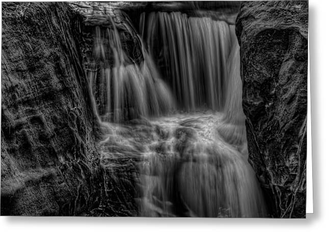 Square Format Greeting Cards - Pewits Nest Middle Falls Black and White Square Greeting Card by Dale Kauzlaric