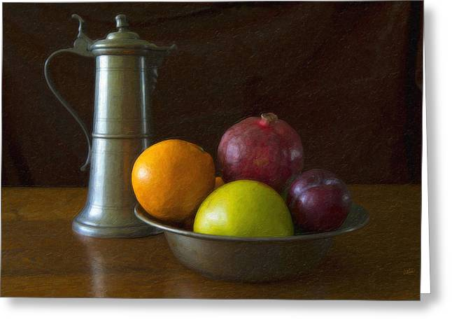 Ewer Paintings Greeting Cards - Pewter Ewer and Fruit Greeting Card by Dean Wittle