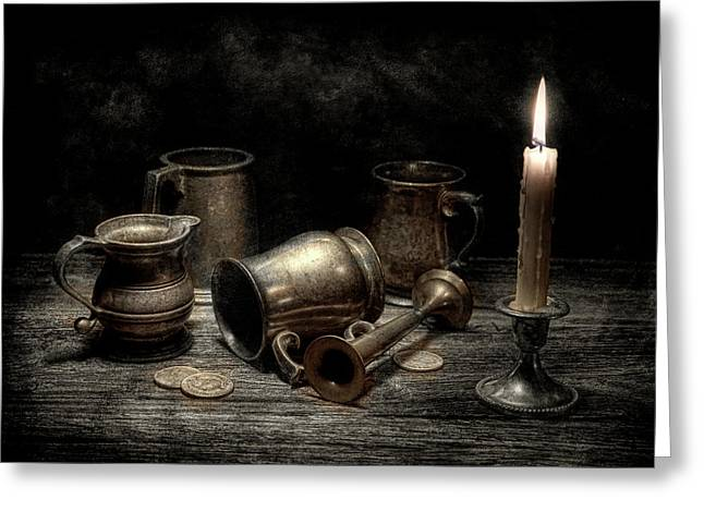 Silver Pitcher Greeting Cards - Pewter Still Life I Greeting Card by Tom Mc Nemar
