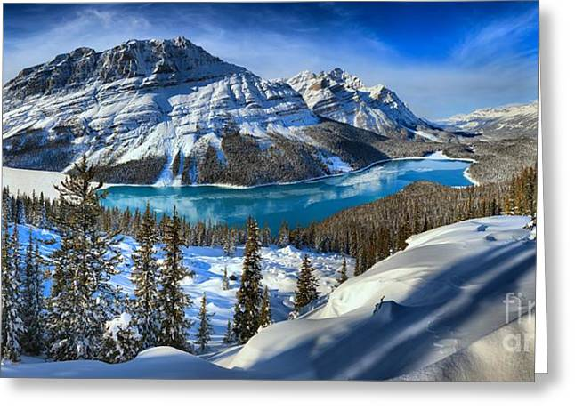 Peyto Lake Winter Panorama Greeting Card by Adam Jewell