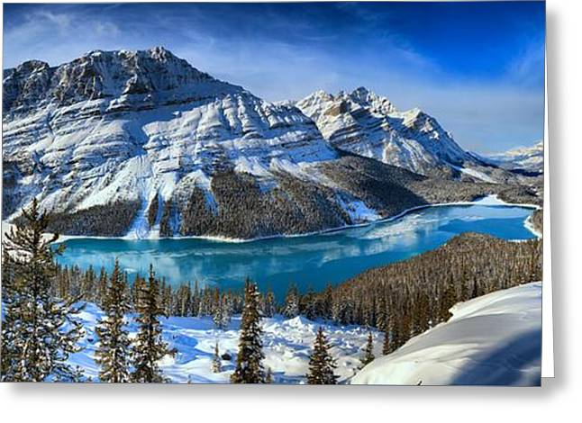Peyto Lake Winter Paradise Panorama Greeting Card by Adam Jewell
