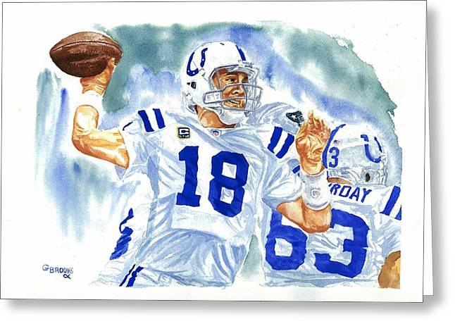 Peyton Manning - The Technician Greeting Card by George  Brooks