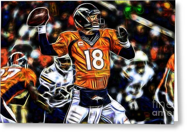 Pop Mixed Media Greeting Cards - Peyton Manning Collection Greeting Card by Marvin Blaine