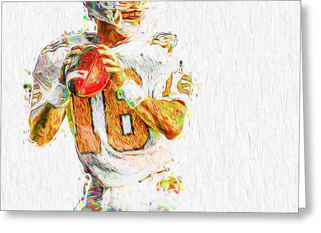 Peyton Manning Nfl Football Painting Tv Greeting Card by David Haskett