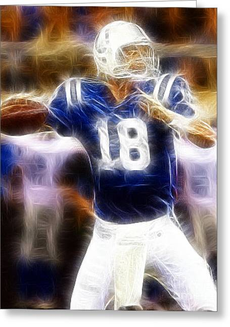 National Football League Greeting Cards - Peyton Manning Greeting Card by Paul Ward