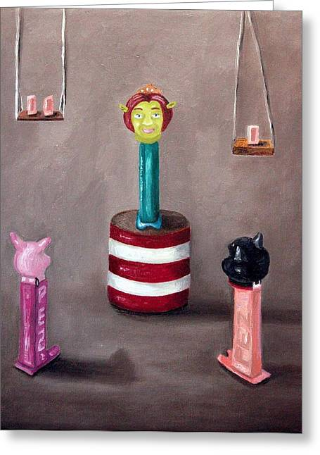 Pez Greeting Cards - Pez Lecture Greeting Card by Leah Saulnier The Painting Maniac
