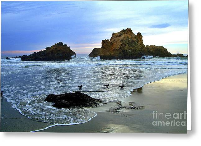Best Sellers -  - Pfeiffer Beach Greeting Cards - Pfeiffer Beach Evening - Big Sur Greeting Card by Charlene Mitchell