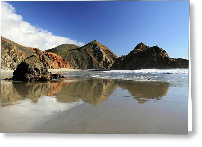 Pfeiffer Beach Greeting Cards - Pfeiffer Beach reflection Greeting Card by Pierre Leclerc Photography