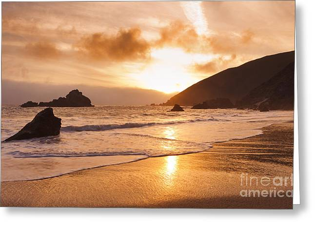 Best Sellers -  - Pfeiffer Beach Greeting Cards - Pfeiffer Burns Beach - Sunset Greeting Card by MakenaStockMedia
