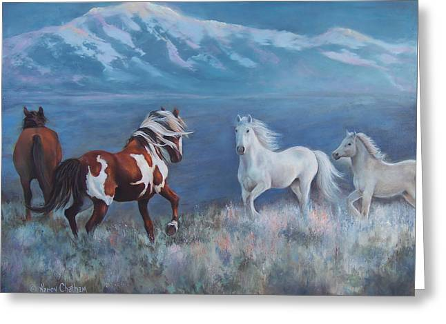 Phantom Of The Mountains Greeting Card by Karen Chatham