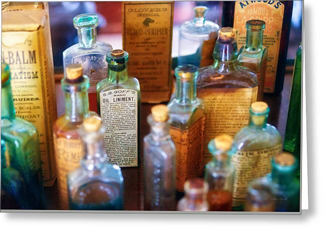 Glass Bottle Greeting Cards - Pharmacist - Liniment and Balms Greeting Card by Mike Savad