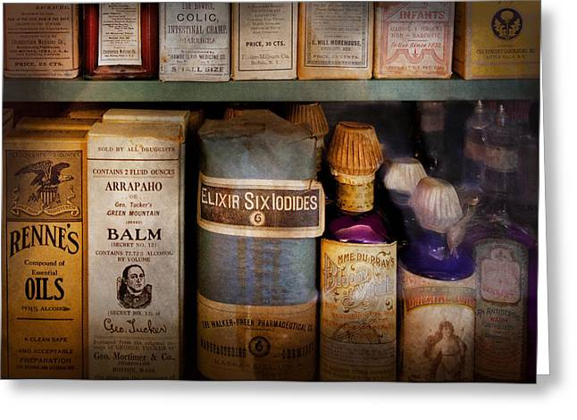 Medication Greeting Cards - Pharmacy - Oils and Balms Greeting Card by Mike Savad