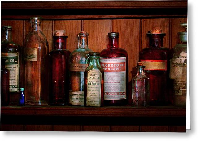 Serum Greeting Cards - Pharmacy -  Oils and Inhalants Greeting Card by Mike Savad