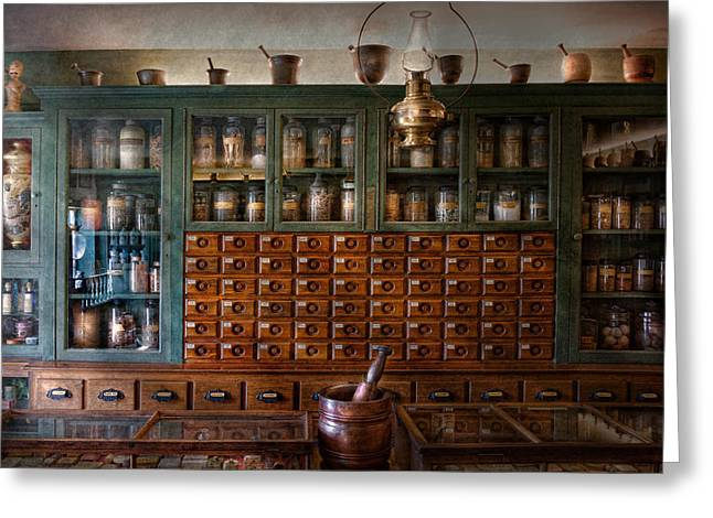 Cabinet Room Greeting Cards - Pharmacy - Right behind the counter Greeting Card by Mike Savad