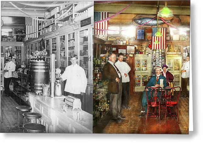 Pharmacy - Collins Pharmacy 1915 - Side By Side Greeting Card by Mike Savad