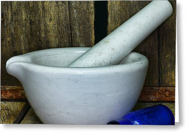 Md Greeting Cards - Pharmacy - Mortar and Pestle - Square Greeting Card by Paul Ward