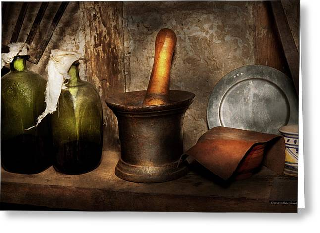 Pharmacy - Pestle - Home Remedies Greeting Card by Mike Savad
